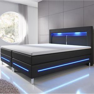 Juskys Boxspringbett Norfolk 180 x 200 cm – LED Beleuchtung, Bonell-Matratzen, Topper & Kunstleder – 66 cm Komforthöhe – schwarz – Bett Doppelbett