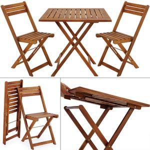 Balkonset 3-TLG Akazien Holz 2X Klappstuhl + 1 Tisch 60x60cm klappbar Balkon Garten Möbel Bistroset Sitzgruppe, Farbe:braun