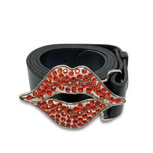 Friseurmeister Gürtel Stoff und Kunstleder Gürtel Nietengürtel mit Glitzer Steinen 110cm Länge - Unix Gürtel, Farbe:Rote Lippen