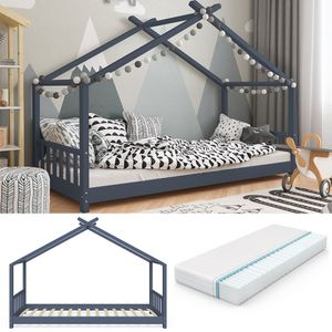 VITALISPA Kinderbett Hausbett DESIGN 90x200cm Kinder Bett Holz Haus anthrazit + Matratze