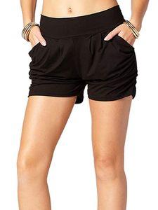 Womens Beiläufig Harem Shorts Bottoms Weiche kurze Hose mit mittlerer Taille Taschen,Farbe:Schwarz,Größe:XXL