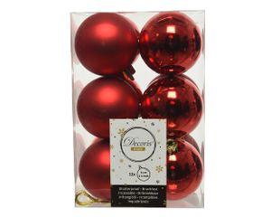 Weihnachtskugeln Kunststoff 6cm weihnachtsrot, 12 Stück