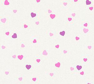 A.S. Création Kinderzimmertapete Boys & Girls Tapete mit Herzen Strukturprofiltapete violett creme metallic 10,05 m x 0,53 m