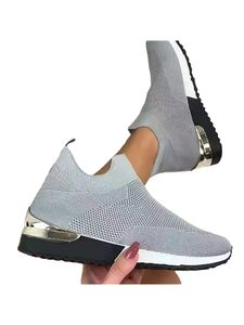 Abtel Damen Turnschuhe Mesh Stoff Mode Socken Schuhe Outdoor-Schuhe,Farbe:Grau,Größe:37