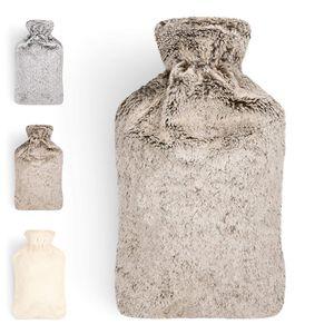 Wärmflasche mit weichem Bezug - 1.8L Wärmeflasche Bettflasche Wärmflasche Kinder braun