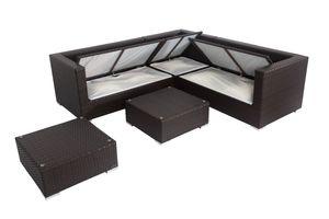 OUTFLEXX Loungemöbel-Set, braun, Polyrattan, 6 Personen, wasserfeste Kissenbox, inkl. Kaffeetisch