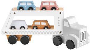 Holzspielzeug Holzlastwagen Abschleppwagen inkl. 4 Holz-Autos für Jungen und Mädchen