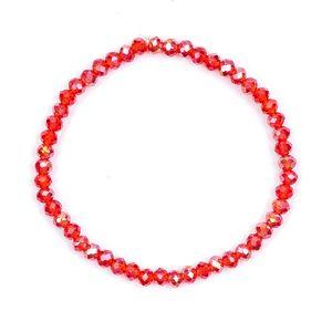 Melady Perlenarmband 50beads*4mm Rot Glas Rund Perlen Armband Damen Armbänder Damenschmuck