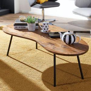 WOHNLING Design Couchtisch WL5.617 122x36x63 cm Sheesham mit Metallbeinen Schwarz | Nierentisch Massivholz Grau | Holztisch Tischbeine Metall | Cooler Massivholztisch | Tisch Flach Modern