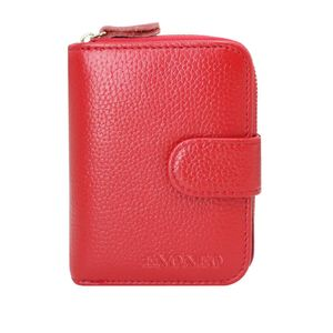 Kreditkartenetui RFID Schutz Kartenhalter Geldbörse Damen Leder mit 12 Karten 4 ID Windows & 2 Geld Münzfach Fächer Geldbeutel Damen Klein Portemonnaie Frauen (Rot)