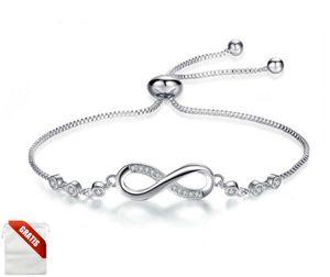 Silber Armband Infinity Damen Frauen Diamanten Unendlich Liebe Ewigkeit Edelmetall