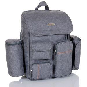 Wickelrucksack Kinderwagen Baby Reisetasche Thermo Windeltasche XL Komplettset grau