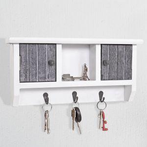 Schlüsselbrett HWC-A48, Schlüsselkasten Schlüsselboard mit Türen, Massiv-Holz  shabby grau-weiß