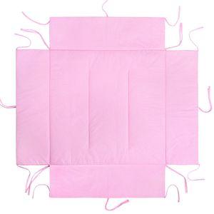 LULANDO Laufgittereinlage Laufstalleinlage und Schutzeinlage mit Seitenpolsterung (75x100 cm oder 100x100 cm). Kuschelig weich und warm gepolstert., Farbe:Grey Clouds / Dots Pink, Größe:75 x 100 cm