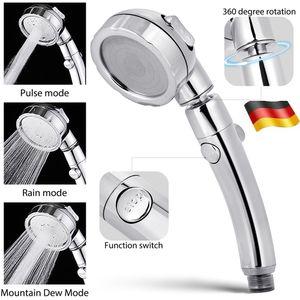 3 Strahlarten Handbrause mit Wasserstop Brausekopf Hochdruck Duschkopf chrom 1/2 Zoll Geeignet für Regendusche verstellbar Handheld Dusche Wassersparer