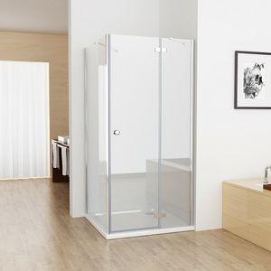 90x75cm Duschkabine Eckig Dusche mit 75cm Seitenwand ESG Glas JCP