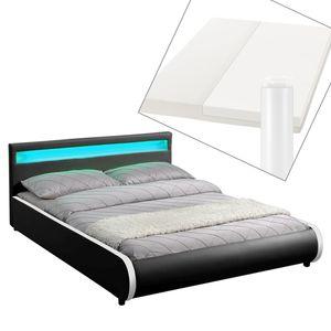 Juskys Polsterbett Sevilla 140 x 200 cm schwarz Einzelbett mit Kaltschaummatratze
