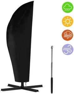 Sonnenschirm Schutzhülle mit Stab, Ampelschirm Schutzhülle 2 bis 4 M Große Sonnenschirm Abdeckung,265cm Schutzhülle für Sonnenschirm Oxford 210D Wasserdicht Schwarz