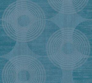 A.S. Création Tapete mit Kreismuster Attractive Vliestapete mit Glitzereffekt blau 10,05 m x 0,53 m