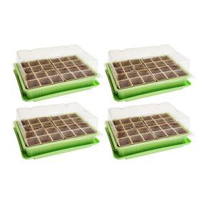 4x Mini Gewächshaus - für bis zu 96 Pflanzen, ca. 27 x 19 x 10 cm (LxBxH) je Zimmergewächshaus, grün / transparent, Kunststoff / Zellulose