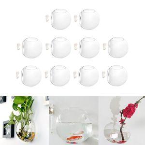 10 Stück Kreative Glas Wandvase Wandbehäng Glas Pflanzgefäße Blumentopf, hängender Pflanzenbehälter für Hydrokultur Pflanzen, Hause Deko