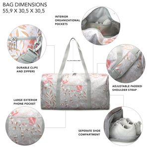 Jadyn B Weekender Bag - 56 cm./ 52 L große Damen-Reisetasche / Sporttasche mit Schuhfach (Gray Floral)