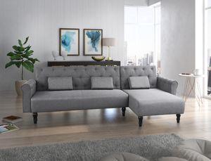 Sofa-Chaise Longue Chester 267cm, umbaubar in ein Bett, umkehrbar, grau.