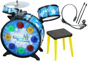 Kinder Schlagzeug Set 3 Trommeln Becken Instrument Licht Spielzeug elektronisch