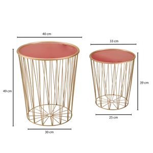 WOHNLING Design Beistelltisch 2er Set Korbtisch Rot / Gold Satztisch Rund | Wohnzimmertisch Modern mit Stauraum | Couchtisch Sofatisch 2-teilig mit abnehmbaren Tablett