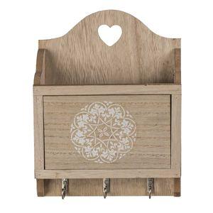Holz Schlüsselbrett mit Postfach Mandala