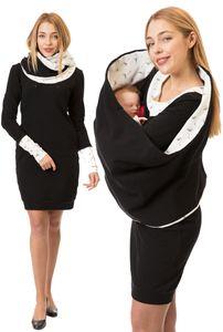 GFWL Umstandskleid Stillkleid Stilltuch #Set, Schwangerschaftskleid, Still Kleid, + schal GF8047XA in Schwarz mit schwarzen Pusteblumen auf Weiß (innen , Kragen, Bündchen ), Größe Damen EU:40 Large