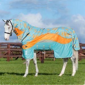 Horseware Amigo 3in1 Evolution Untreated Disc Front - Aqua/Orange & Aqua, Größe:145
