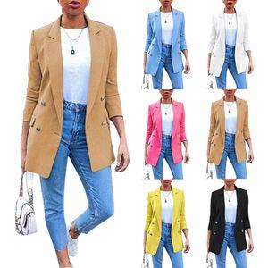 Plus Size Herbstmode Büro Lady Solid Color Blazer Langarm Anzug Jacke-Schwarz / Größe:L