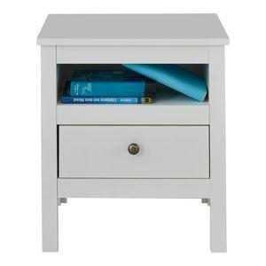 Nachttisch Nachtkommode mit Schublade Tischchen Ole Weiß Melamin 47 x 52 cm
