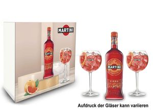 Martini Fiero Geschenkset - Fiero Wermut 0,75l (14,4% Vol) + Martini Royale Ballon Cocktail Glas Set - 2x Gläser 47cl - [Enthält Sulfite]