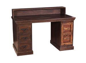SIT Möbel Schreibtisch | 3 Schubladen, 1 Tür | recyceltes Altholz | braun | B 132 x T 65 x H 90 cm | 05107-30 | Serie ALMIRAH