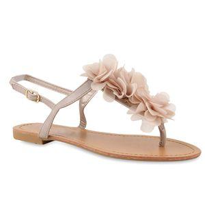 Mytrendshoe Modische Damen Sandalen Blumen Zehentrenner Sommer Schuhe 810035, Farbe: Nude, Größe: 40