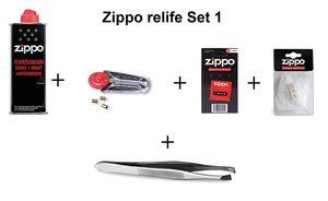 Zippo Zubehör (ReLife) Set inkl. Benzin, Docht, Feuersteine und Pinzette