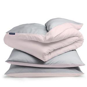 sleepwise Soft Wonder-Edition Bettwäsche Deckenbezug Duvet Bettbezug , 100% Mikrofaser-Fleece , ® Standard 100 , Schadstofffrei , Reißverschluss , 155 x 200 cm , 2 x Kopfkissenbezug: 80 x 80 cm , hellgrau/rosa