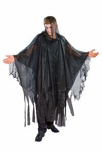 Herren Kostüm Kutte mit Kapuze Spinnwebenstoff Halloween Karneval