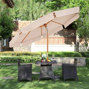SONGMICS Sonnenschirm 300 cm, Sonnenschutz bis UPF 50+, knickbar, achteckiger, Schirmmast und Schirmrippen aus Holz, ohne Ständer, Taupe GPU32BR