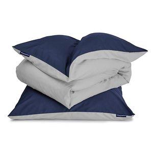 sleepwise Soft Wonder-Edition Bettwäsche Deckenbezug Duvet Bettbezug , 100% Mikrofaser-Fleece , ® Standard 100 , Schadstofffrei , Reißverschluss , 135 x 200 cm , 1 x Kopfkissenbezug: 80 x 80 cm , dunkelblau/hellgrau