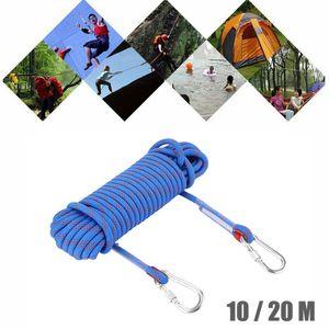 Kletterseil 10mm Klettern Seil Sicherheitsseil mit Karabinerhaken 10m Blau