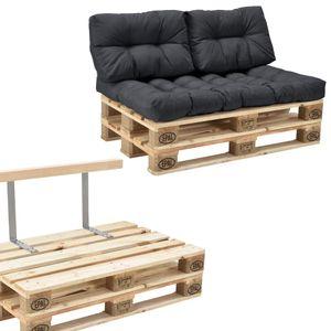 [en.casa] Palettensofa - 2-Sitzer mit Kissen - (dunkelgrau) komplettes Set inkl. Rückenlehne