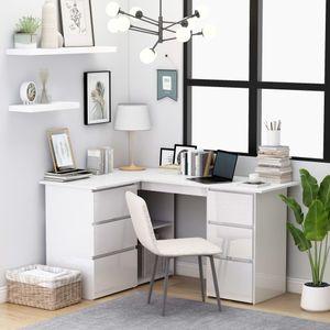 Eckschreibtisch Hochglanz Bürotisch Vintage   PC Tisch   Arbeitstisch Gaming Tisch   für Arbeitszimmer Büro Vintage-Weiß 145×100×76 cm Spanplatte - direkt vom Hersteller HOM422093