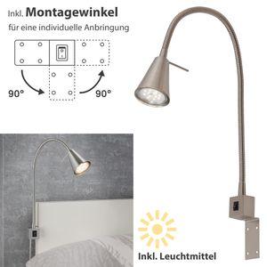 LED Bettleuchte Flexarm inkl. An-/Ausschalter 4W Matt-Nickel Briloner Leuchten