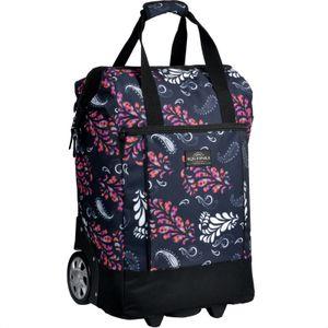 Einkaufstrolley Einkaufsroller Große Räder Einkaufswagen Trolley Floral Blumen 40L Black Paisley