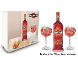 Martini Geschenkset Giftbox Geschenk Box Martini Fiero Wermut 1L (14,4% Vol) + Martini Royale Ballon Cocktail Glas Set - 2x Gläser 47cl - [Enthält Sulfite]