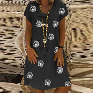 Frauen Plus Size Casual Floral Printed V-Ausschnitt Kurzarm Kleid Loses Kleid Größe:L,Farbe:Schwarz