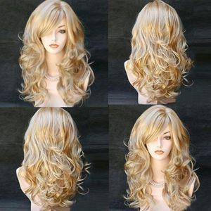 Blonde Perücken Wellige lockige lange hitzebeständige Faser Kostüm Party Perücken für Frauen